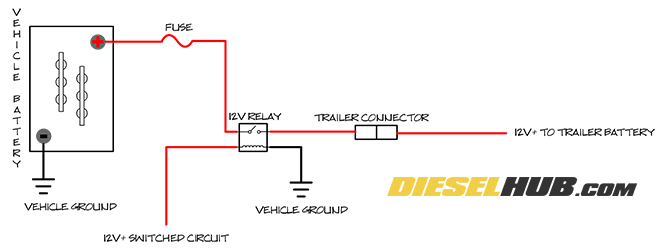Split Charge Trailer Battery Isolator Circuit Guide | Winch Battery Isolator Wiring Diagram |  | Diesel Hub