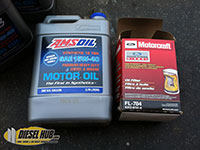 Amsoil motor oil and Motorcraft oil filter